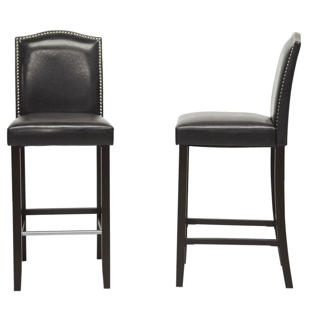 baxton studio libra black faux leather upholstered 2 piece bar stool set 2pc 4296 hd the home. Black Bedroom Furniture Sets. Home Design Ideas