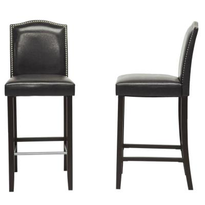 Libra Black Faux Leather Upholstered 2-Piece Bar Stool Set