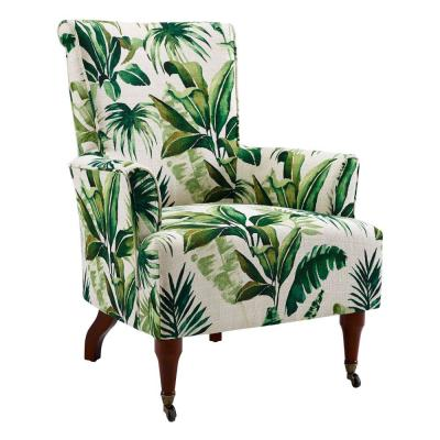 White and Green Polyester Upholstered Wooden Arm Chair with Leaf Motif