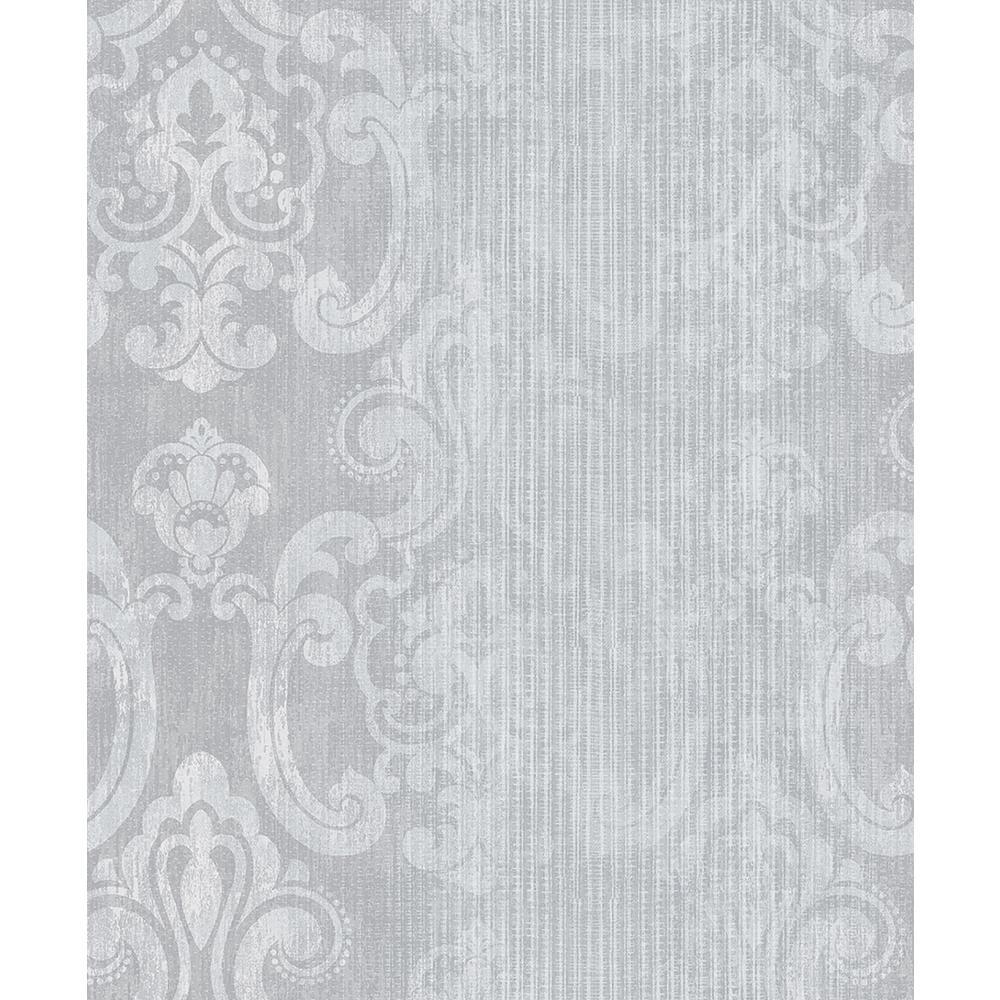 Advantage 8 in. x 10 in. Ariana Silver Striped Damask Wallpaper