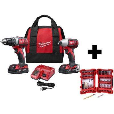 M18 18-Volt Lithium-Ion Cordless Drill Driver/Impact Driver Combo Kit (2-Tool) with SHOCKWAVE Bit Set (50-Piece)