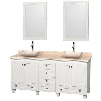 Acclaim 72 in. W Double Vanity in White with Marble Vanity Top in Ivory, Ivory Sinks and 2 Mirrors
