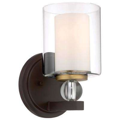 Studio 5 Collection 1-Light Painted Bronze with Natural Brushed Brass Bath Light
