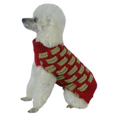 Small Red and Beige Fashion Weaved Heavy Knit Designer Ribbed Turtle Neck Dog Sweater