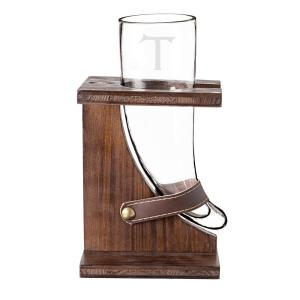 Personalized 16 oz. Glass Viking Beer Horn with Rustic Stand