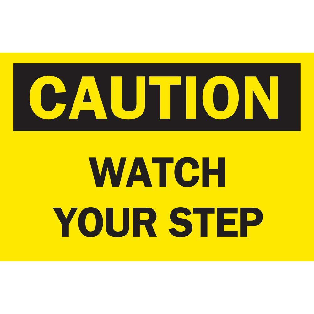 10 in. x 14 in. Plastic Caution Watch Your Step OSHA
