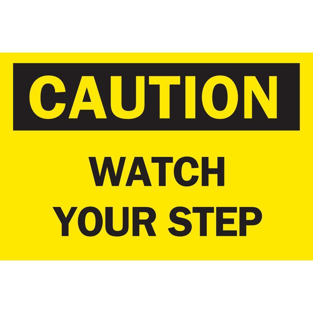 Click here to buy Brady 10 inch x 14 inch Plastic Caution Watch Your Step OSHA Safety Sign by Brady.