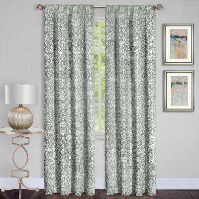 Madison Silver Polyester Rod Pocket Curtain - 54 in. W x 84 in. L