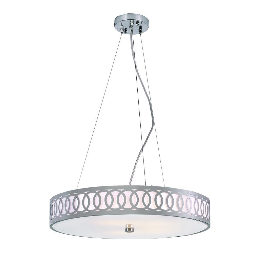 Bel Air Lighting Balboa 5-Light Polished Chrome Pendant with Opal Glass