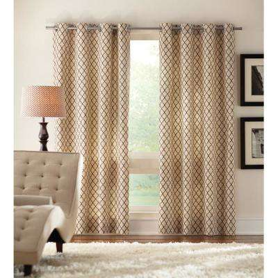 Ogee Light Filtering Window Panel in Cream - 50 in. W x 95 in. L