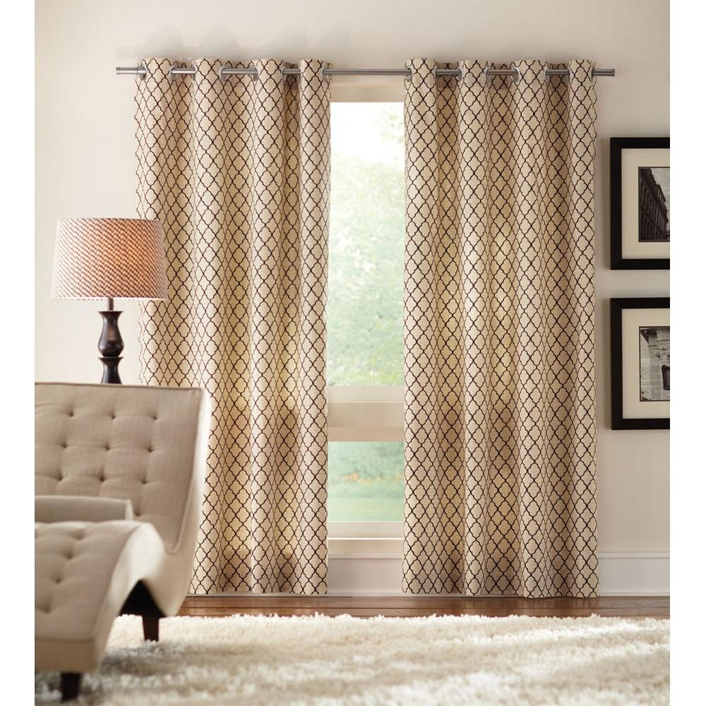 Home Decorators Collection Ogee Light Filtering Window Panel in Cream - 50 in. W x 108 in. L