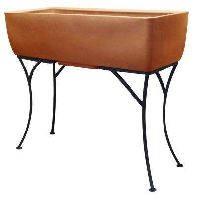 36 in. x 15 in. Terra Cotta Elevated Planter with Stand
