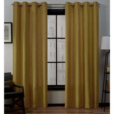 Loha 54 in. W x 96 in. L Linen Blend Grommet Top Curtain Panel in Honey Gold (2 Panels)