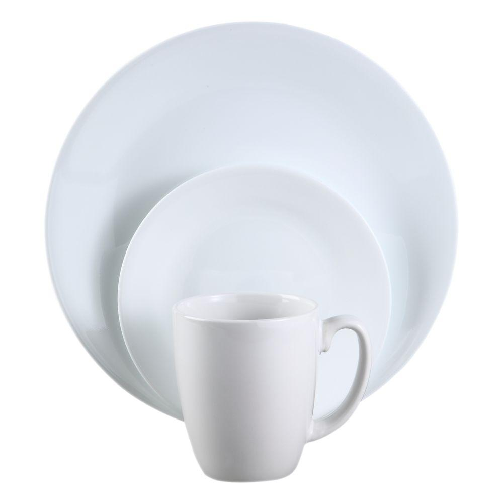 Corelle Winter Frost 16-Piece Vitrelle Dinnerware Set  sc 1 st  The Home Depot : dinnerware 16 piece sets - pezcame.com
