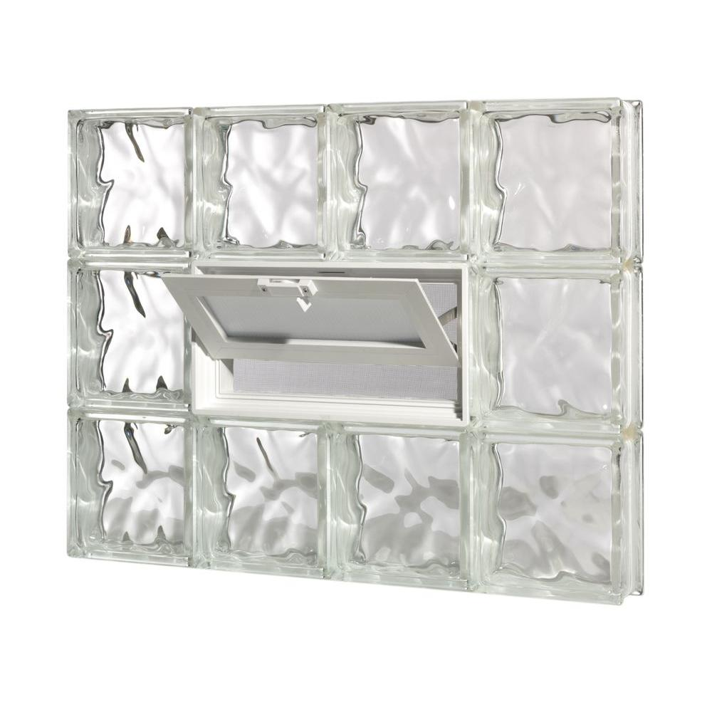 Pittsburgh Corning 32.75 in. x 47.5 in. x 3 in. GuardWise Vented Decora Pattern Glass Block Window