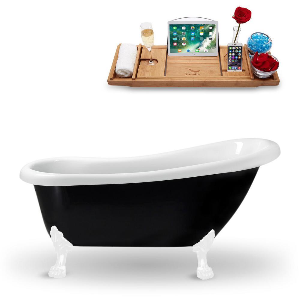 61 in. Acrylic Fiberglass Clawfoot Non-Whirlpool Bathtub in Black