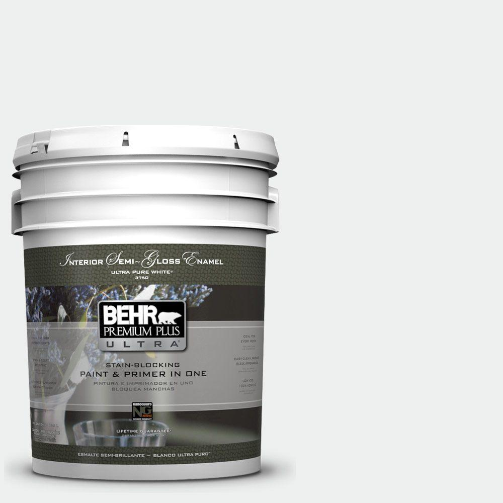 BEHR Premium Plus Ultra 5 gal. #57 Frost Semi-Gloss Enamel Interior Paint