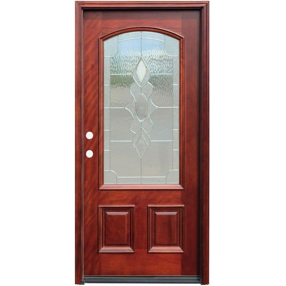 Pacific entries 36 in x 80 in traditional 3 4 arch lite for Mahogany entry doors
