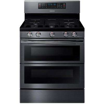 30 in. 5.8 cu. ft. Double Oven Gas Range with Self-Cleaning Convection Oven in Black Stainless