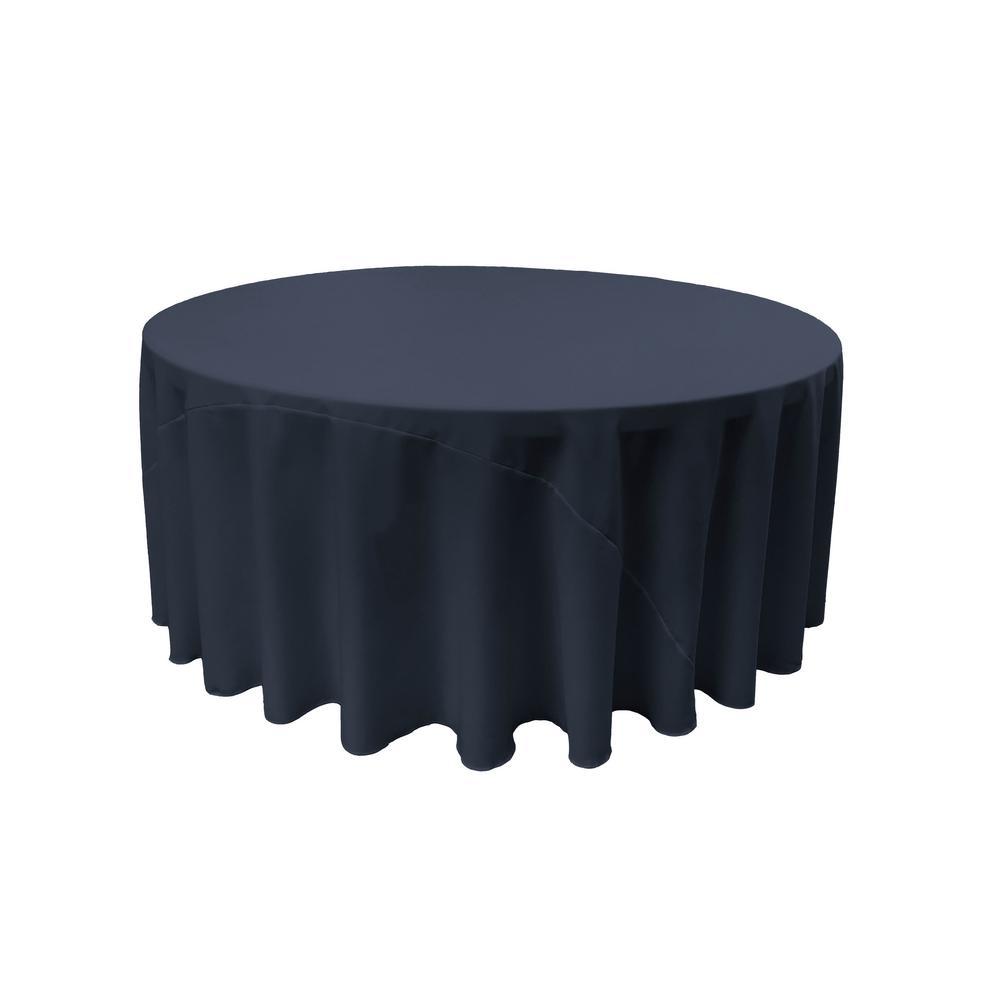 LA Linen 120 In. Navy Blue Polyester Poplin Round Tablecloth