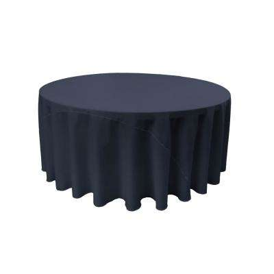 132 in. Navy Blue Polyester Poplin Round Tablecloth