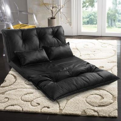 Leather in Black with Pillows Floor Chair Adjustable Sofa Bed Lounge Floor Mattress Lazy Man Couch
