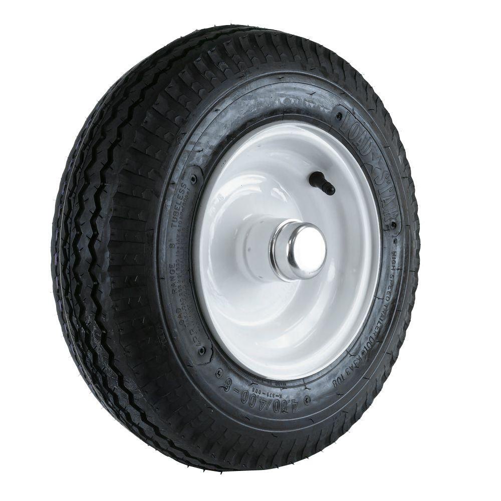 Martin Wheel 480/400-8 LRB Tire and Wheel with 1 in  Bearing for Log  Splitter/Trailer
