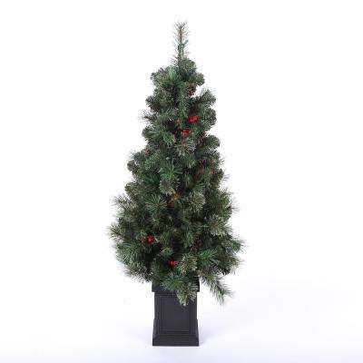 4 ft. Pre-Lit Cashmere Mixed Porch Christmas Tree with Lights