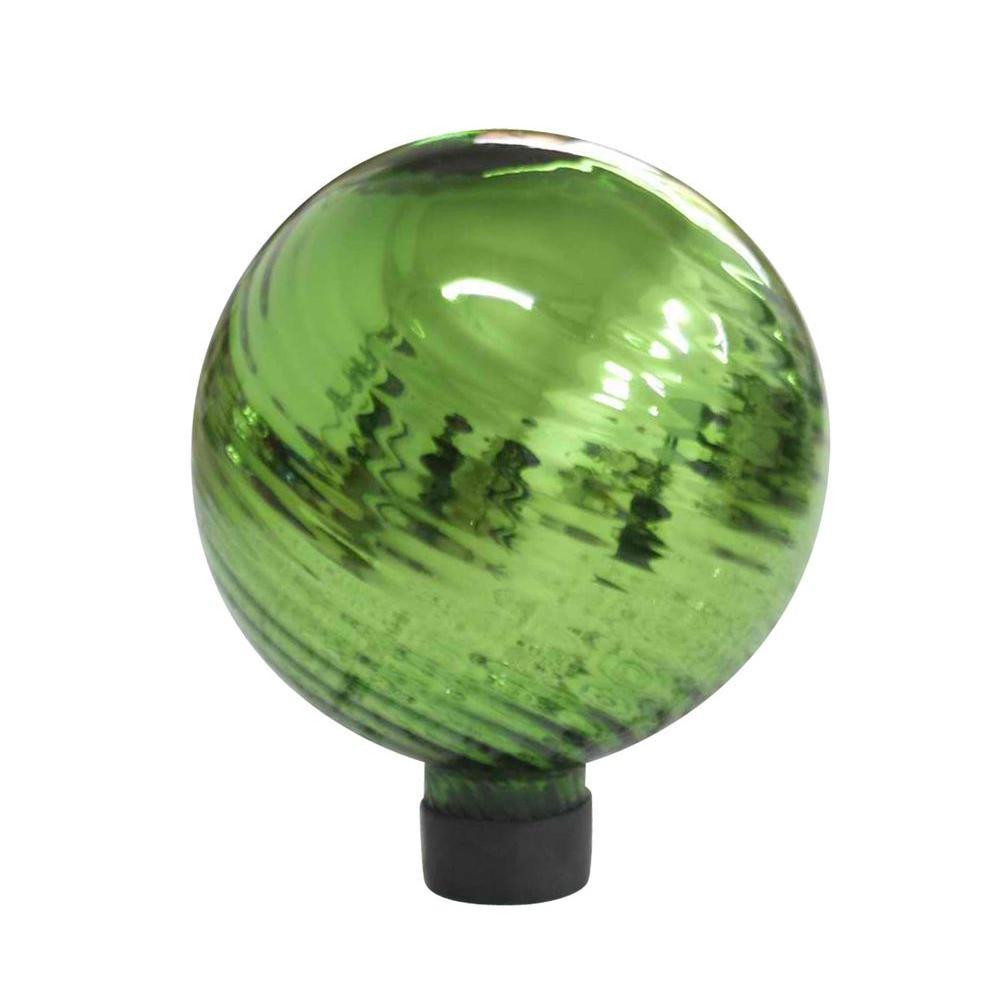 6 in. Green Swirl Plated Glass Gazing Globe