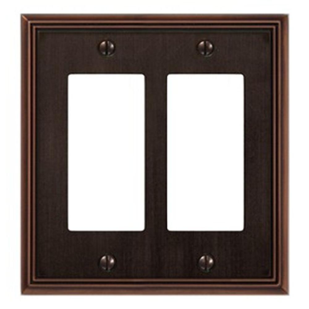 Creative Accents Metro Line 2 Decorator Wall Plate - Antique Bronze-DISCONTINUED