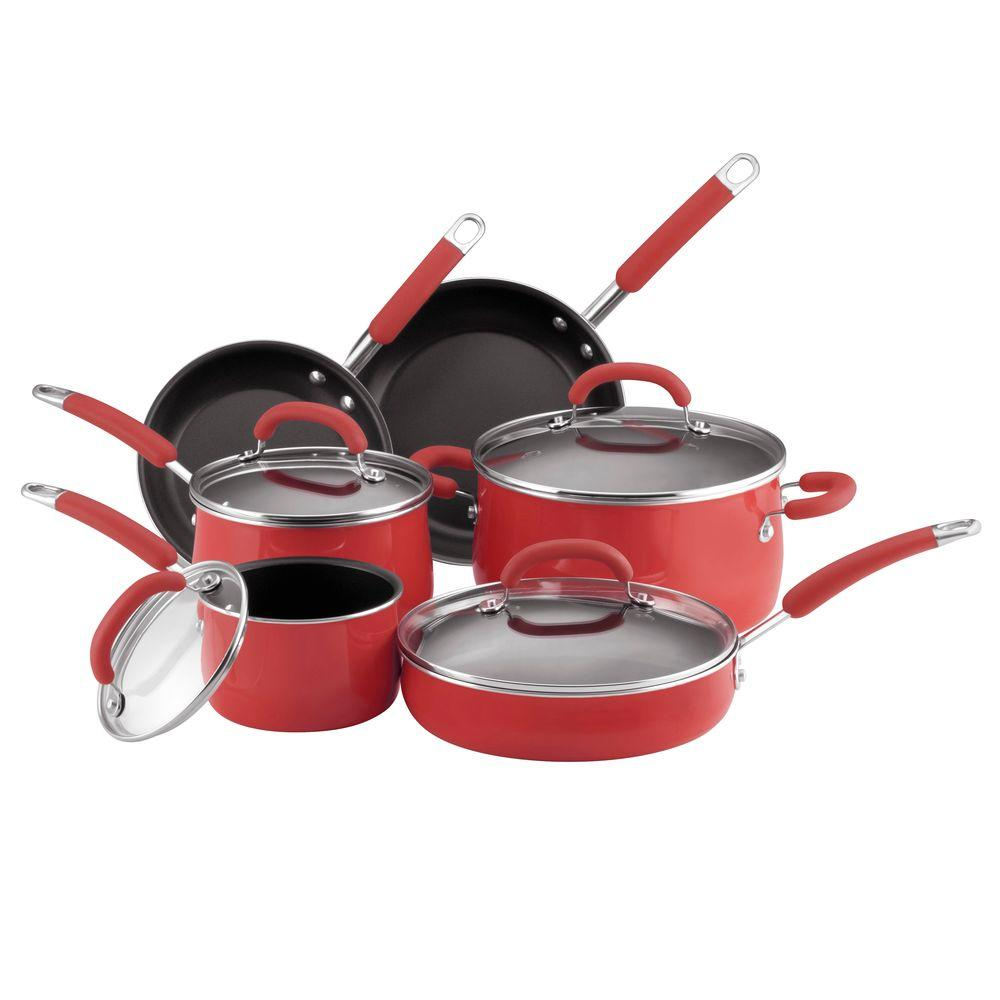 Rachael Ray 10 Piece Nonstick Porcelain Enamel Cookware Set in Red