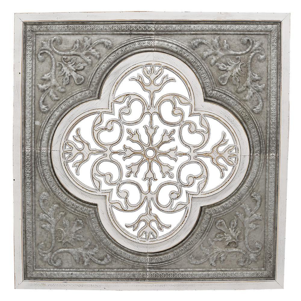 THREE HANDS White Metal/Wood Wall Decor-66746
