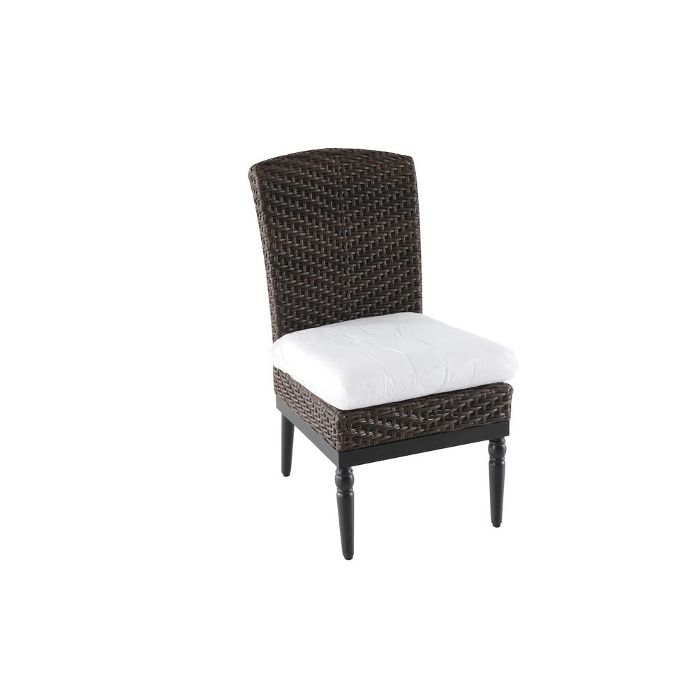 Home Decorators Collection Camden Dark Brown Wicker Outdoor Patio Armless Dining Chair With Bare Cushions 2 Pack