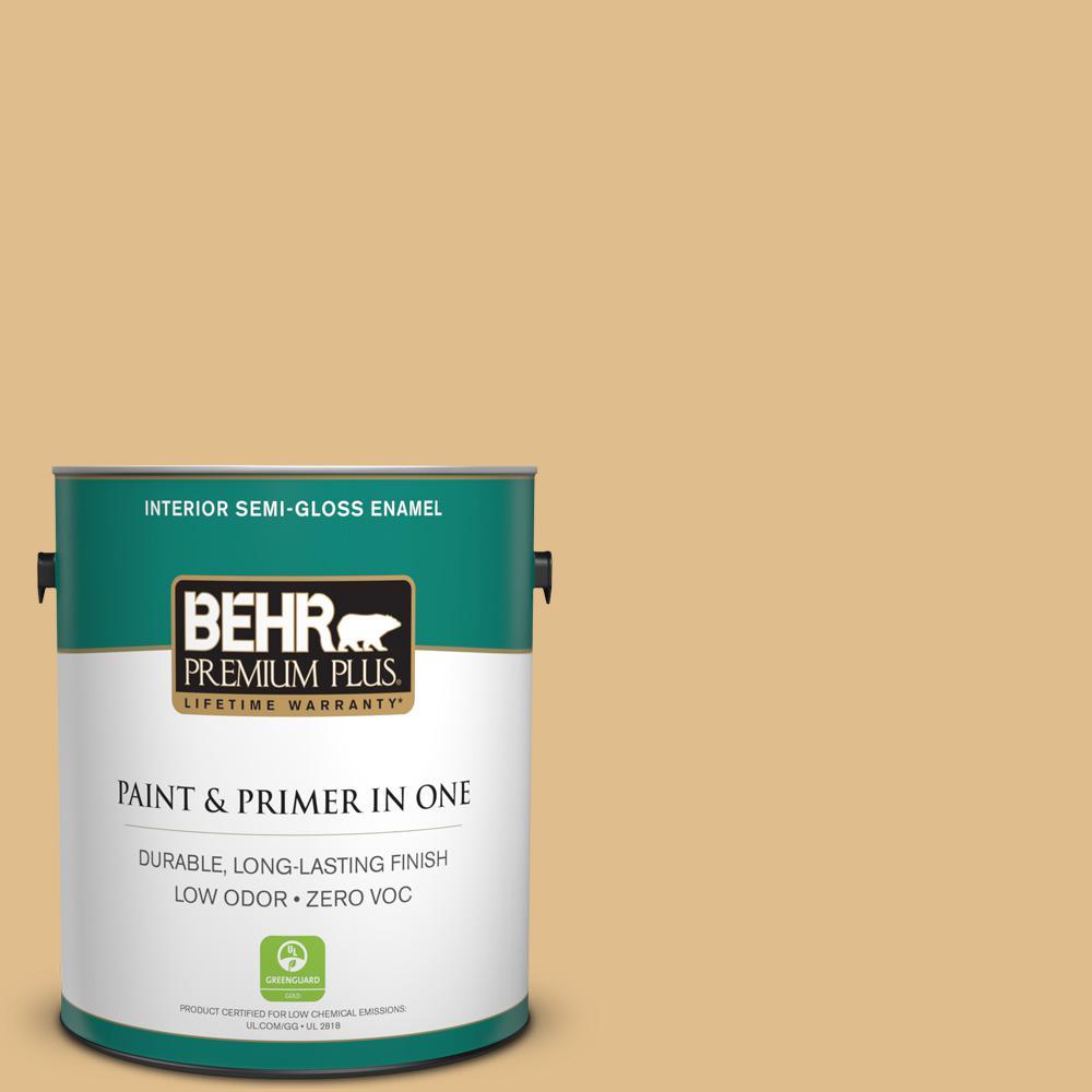 1-gal. #330D-4 Warm Muffin Zero VOC Semi-Gloss Enamel Interior Paint