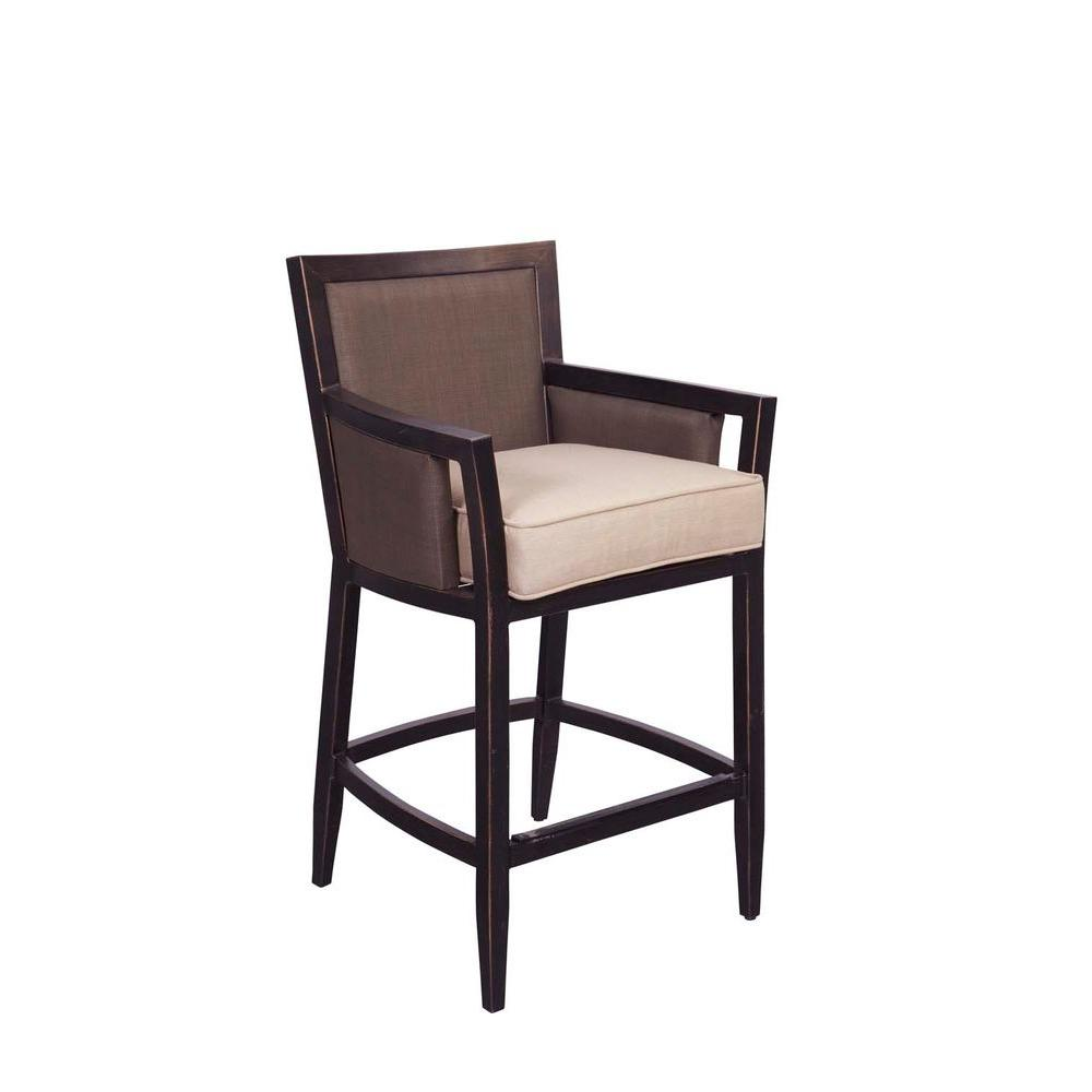 Beau Brown Jordan Greystone Patio High Dining Chair In Sparrow (2 Pack)