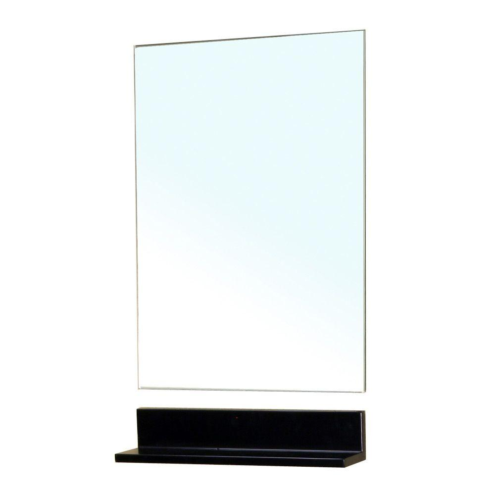 Bellaterra Home Butler 32 in. L x 20 in. W Frame-less Mirror with Solid Wood Shelf in Dark Espresso
