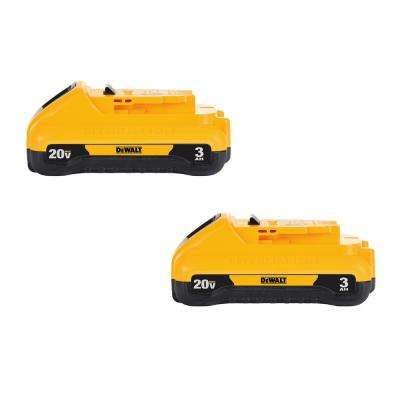 20-Volt MAX Lithium-Ion Compact Battery Pack 3.0Ah (2-Pack)