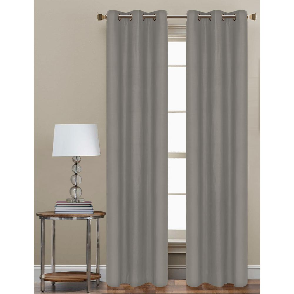 84 in. L Polyester Form Blackout Grommet Curtain Panel in Grey