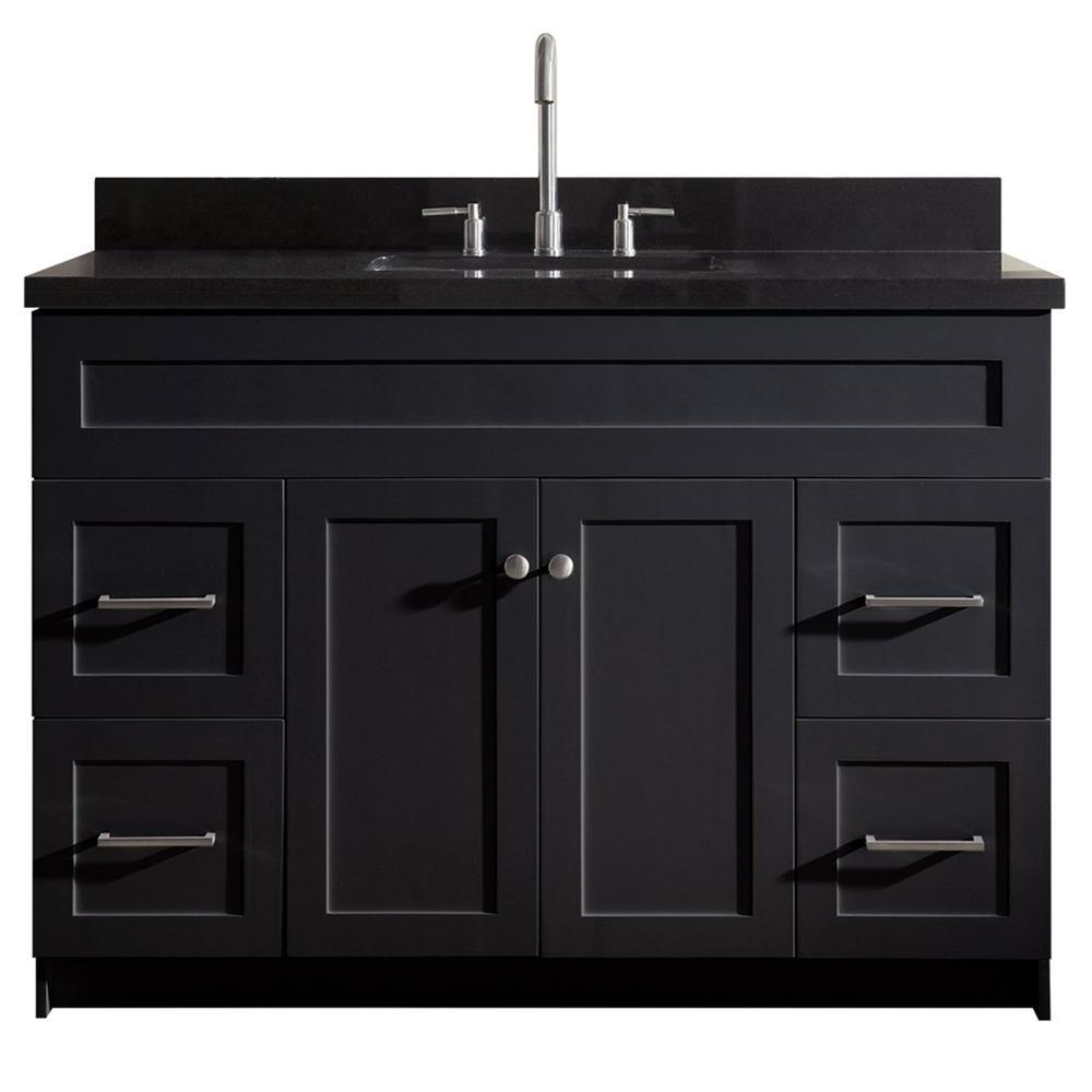 Ariel Hamlet 49 in. Bath Vanity in Black with Granite Vanity Top in Absolute Black with White Basin