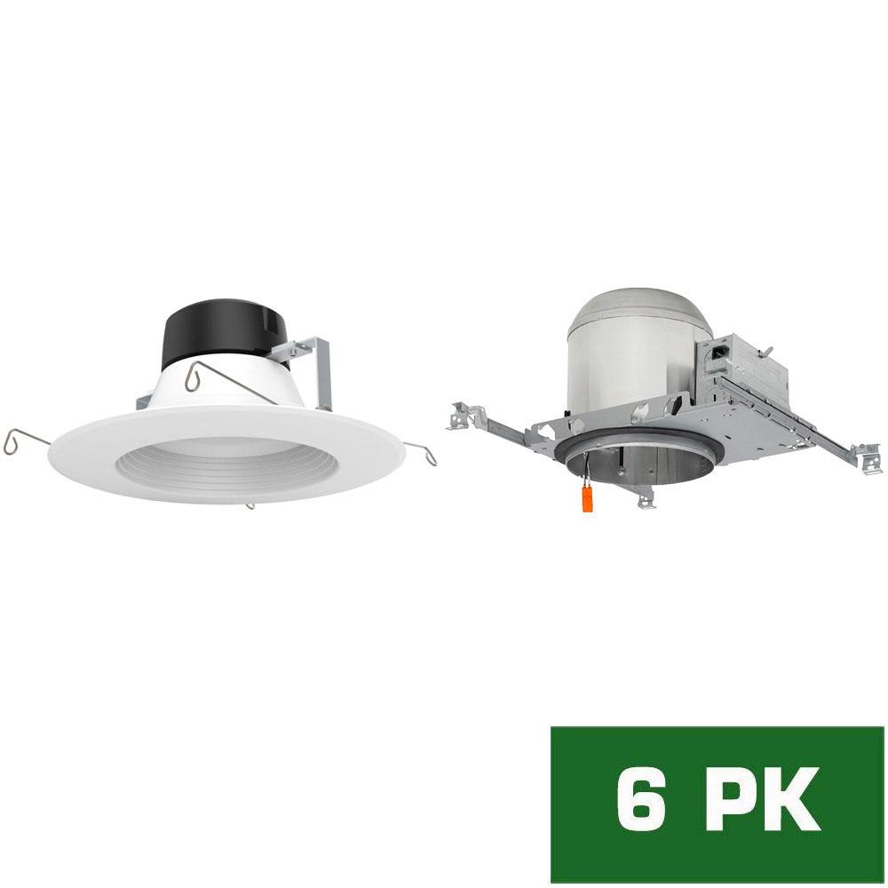Envirolite 6 In. Led Recessed New Construction Housing With Standard Retrofit White Led Trim Kit, 4000k (6 Pack)