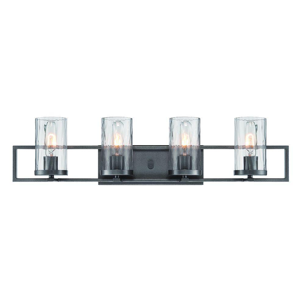 Elements 4-Light Charcoal Interior Incandescent Bath Vanity Light