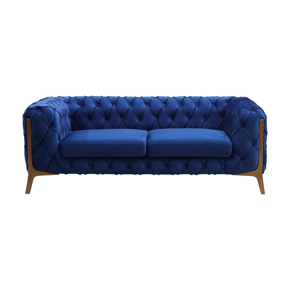 Incredible Todays Mentality Allison Dark Blue Tufted Loveseat Andrewgaddart Wooden Chair Designs For Living Room Andrewgaddartcom