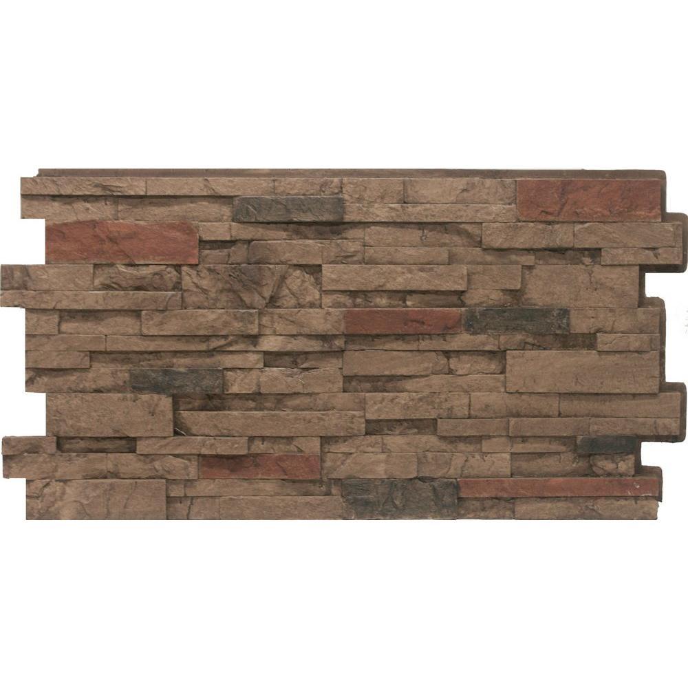 Stacked Stone #25 Mocha 24 in. x 48 in. Stone Veneer Panel (4-Pack)