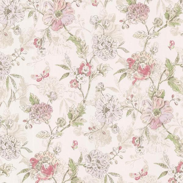 Brewster 56.4 sq. ft. Beecroft Pink Butterfly Peony Trail Wallpaper 347-20111