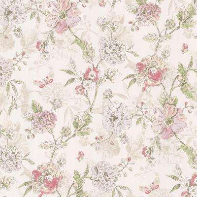 Beecroft Pink Butterfly Peony Trail Wallpaper Sample