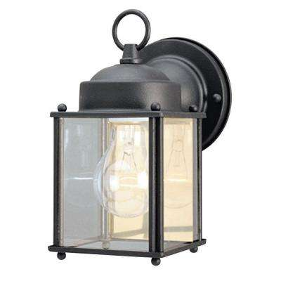 1-Light Textured Black Steel Exterior Wall Lantern with Clear Glass Panels