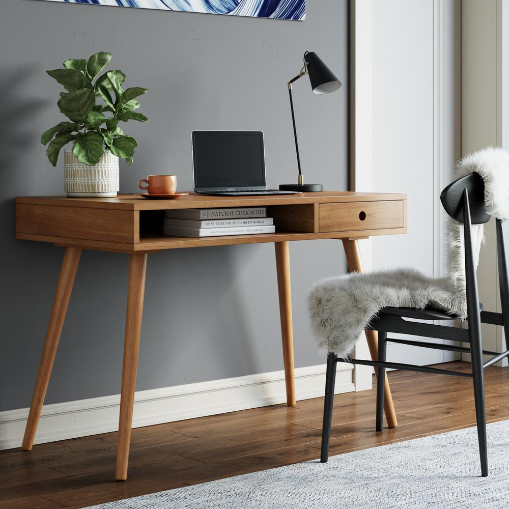 Nathan James Parker 42 In. Walnut Modern Home Office Small