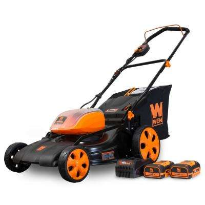 19 in. 40-Volt Max Lithium-Ion Cordless Battery 3-in-1 Walk Behind Push Lawn Mower with 2 Batteries and Charger