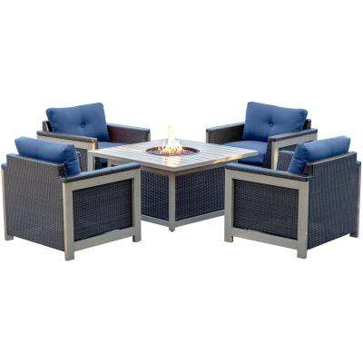 Wolf 5 Piece Wicker Patio Fire Pit Conversation Set With Navy Blue Cushions