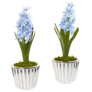 13 in. Hyacinth Artificial Arrangement in White Vase with Silver Trimming (Set of 2)